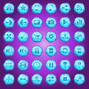 Gui buttons icons set for game interfaces color blue light.