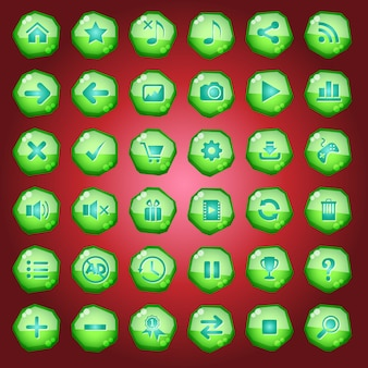Gui buttons icons set for game interfaces color green light.