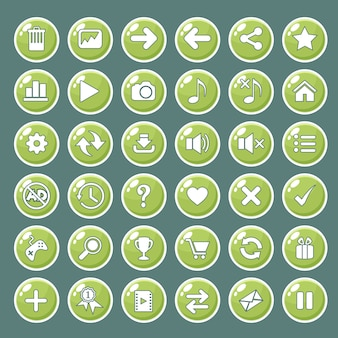 Gui buttons icons set for game interfaces color green.
