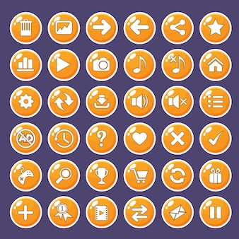 Gui buttons icons set for game interfaces color orange.