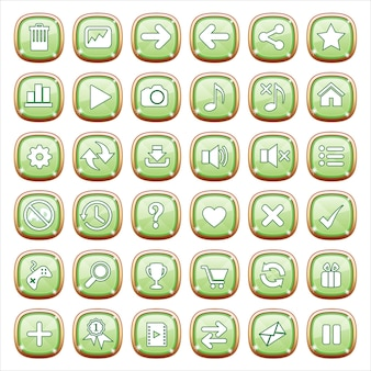 Gui buttons jewelry on green light.