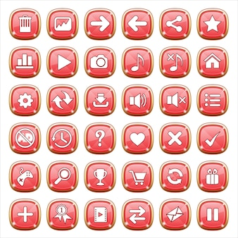 Gui buttons jewelry on red light.