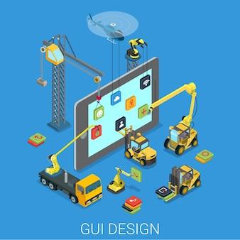Дизайн графического интерфейса пользователя. пользовательский интерфейс мобильного интерфейса ux. процесс разработки установки приложения. плоский изометрический технологический планшет