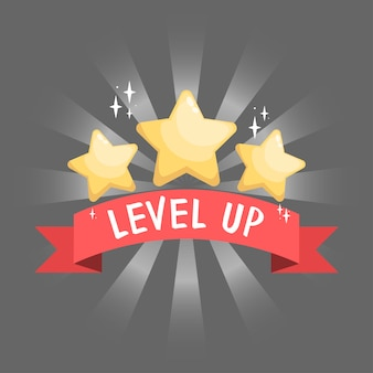 Gui element golden stars on red ribbon for app graphics and game design symbol of win and level up