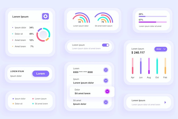 Gui elements for business analytics mobile app ui, ux toolkit