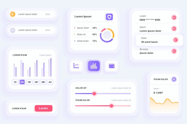 Gui elements for finance mobile app ui, ux toolkit