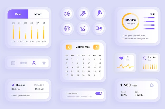 Gui elements for fitness workout mobile app