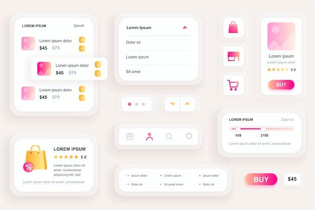 Элементы графического интерфейса для пользовательского интерфейса мобильного приложения для покупок, инструментарий ux