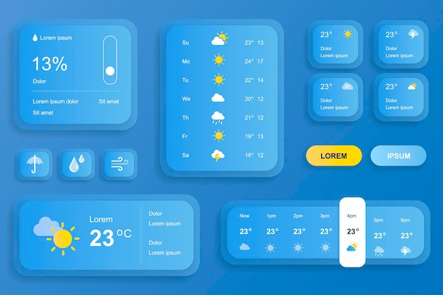 Элементы графического интерфейса для мобильного приложения с прогнозом погоды