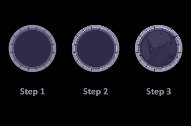 Gui stone border for app icon, 3 steps drawing gray frames for game.