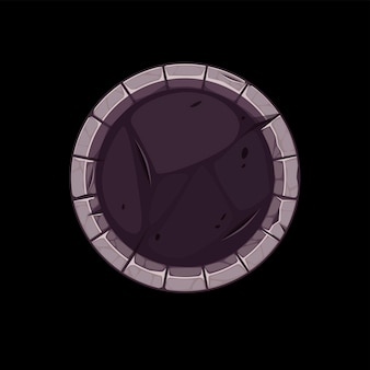 Gui stone border for app icon, round gray old avatar template for game.
