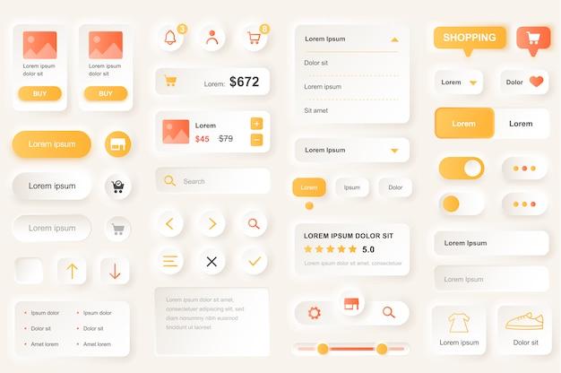 ショッピングモバイルアプリのユーザーインターフェイス要素。ショッピングプラットフォームナビゲーション、製品評価、価格guiテンプレート。ユニークなニューモフィックui uxデザインキット。管理、検索、支払いフォームとコンポーネント