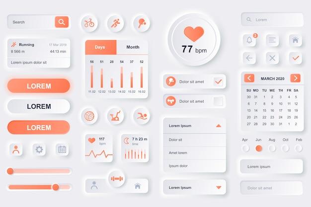 フィットネストレーニングモバイルアプリのユーザーインターフェイス要素。フィットネストラッカー、スポーツ活動プランナー、心拍数モニターguiテンプレート。ユニークなニューモフィックui uxデザインキット。コンポーネントの管理とナビゲーション。