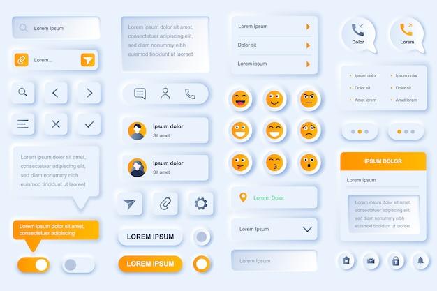 ソーシャルネットワークモバイルアプリのユーザーインターフェイス要素。オンラインの人々コミュニケーション、チャット、メッセージングguiテンプレート。ユニークなニューモフィックui uxデザインキット。ナビゲーションとテキストメッセージのフォームとコンポーネント