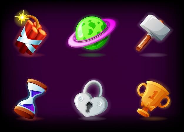 Значки видеоигры gui установленные против темной предпосылки. комплект иллюстраций мобильного игрового приложения в мультяшном стиле