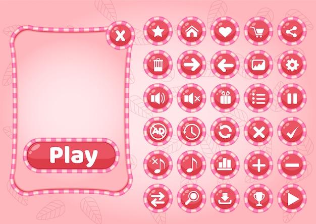 ゲームのためのかわいいポップアップボーダーキャンディーとアイコンgui。