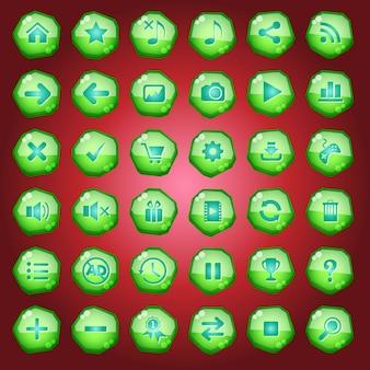 Значки кнопок gui для игровых интерфейсов окрашены в зеленый цвет.