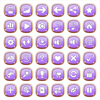 紫色の光のguiボタンジュエリー。