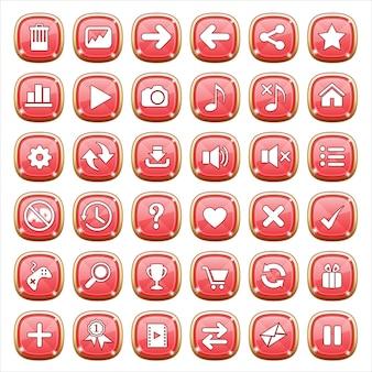 Guiボタンは赤い光の宝石類をボタンします。