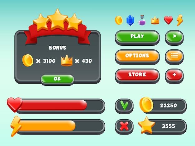 ゲームguiセット、モバイルゲームユーザーインターフェイスのアイコンとアイテムの色付きボタンステータスバーリボンカジュアルビルド