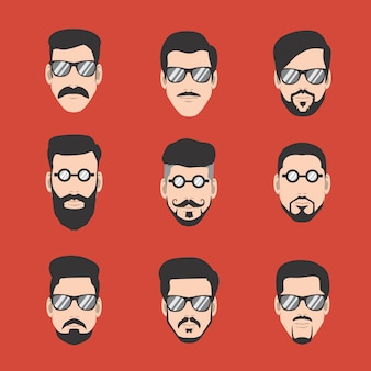 Guide of mustache and beard man with glasses