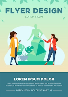 Guide telling about sculpture to tourists. museum, travel, leisure flat vector illustration. art and entertainment concept for banner, website design or landing web page
