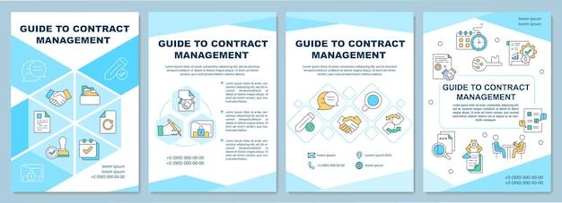 契約管理パンフレットテンプレートのガイド。ビジネスプロセス。チラシ、小冊子、リーフレットプリント、線形アイコンのカバーデザイン。雑誌、年次報告書、広告ポスターのレイアウト