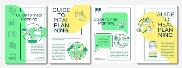 식사 계획 브로셔 템플릿 안내입니다. 메뉴 팁 만들기. 전단지, 소책자, 전단지 인쇄, 선형 아이콘이 있는 표지 디자인. 프레젠테이션, 연례 보고서, 광고 페이지용 벡터 레이아웃