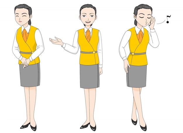부드러운 미소로 안내 유니폼을 입은 여성 캐릭터와 불충실 한 여성 캐릭터.