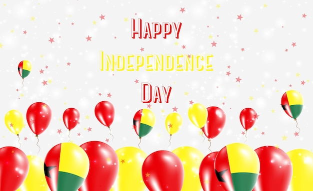 Guinea bissau independence day patriotic design. balloons in guinea bissauan national colors. happy independence day vector greeting card.
