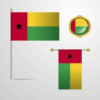 Guinea bissau waving flag design with badge vector