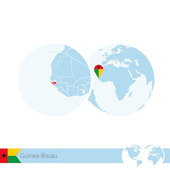 Guinea-bissau on world globe with flag and regional map of guinea-bissau. vector illustration.