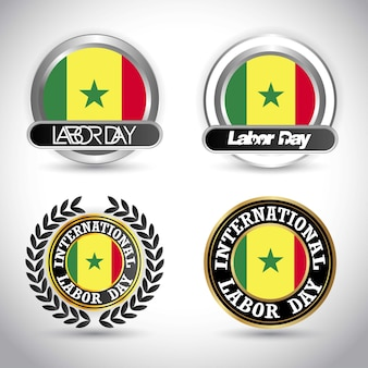 Guinea flag with labour day design vector
