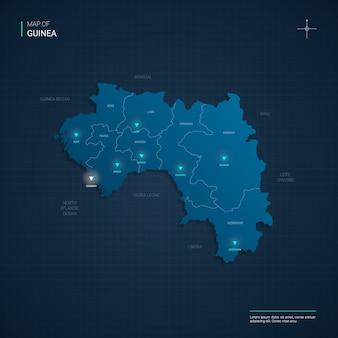 Карта гвинеи с синими неоновыми световыми точками - треугольник на темно-синем градиенте