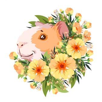 Морская свинка в желтых цветках.