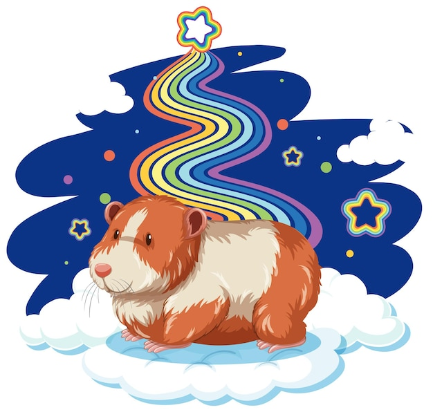 Guinea pig standing on the cloud with rainbow