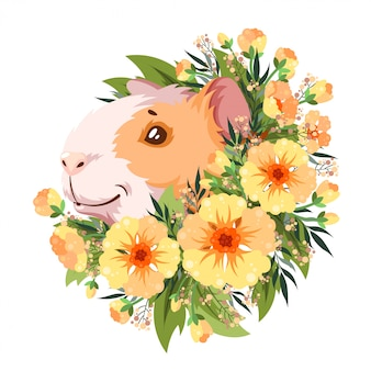 Guinea pig in yellow flowers.