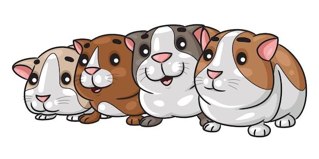 Guinea pigs cartoon line up