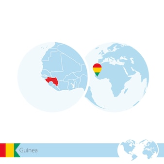 Guinea on world globe with flag and regional map of guinea. vector illustration.