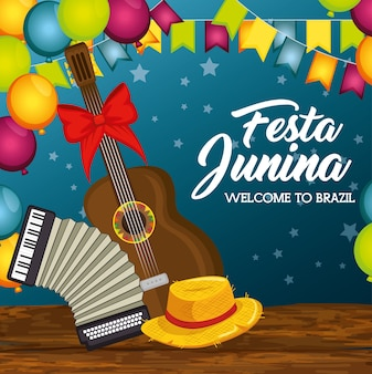Guitar accordion and hat on wooden table with balloons and banners over blue background vector illus