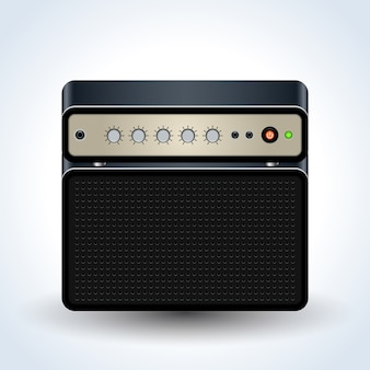 Guitar amplifier realistic vector icon on white