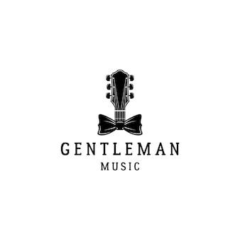 ギターと蝶ネクタイ紳士の音楽のロゴデザイン