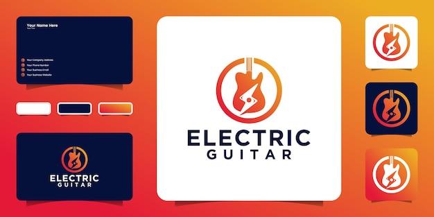 기타와 일렉트릭 로고 디자인 영감, 명함 영감
