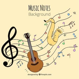 Фон с гитарой и саксофоном с музыкальными нотами