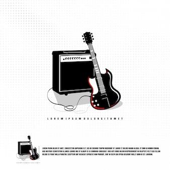ギターとサウンドのイラストプレミアム