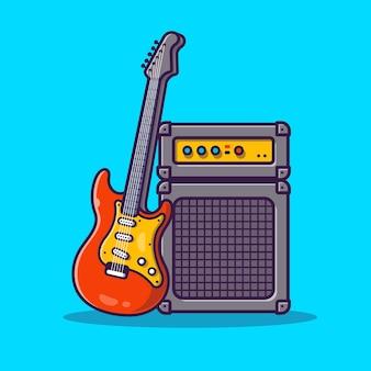 ギターとサウンドシステム漫画アイコンイラスト。音楽機器アイコンの概念