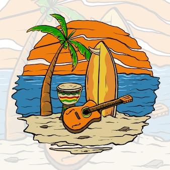 해변의 태양 세트에서 기타와 서핑 보드