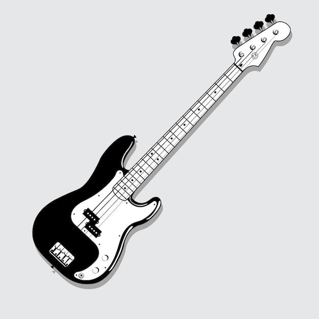 Гитара бас иллюстрация черный и белый