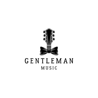 Guitar and bow tie gentleman music logo design