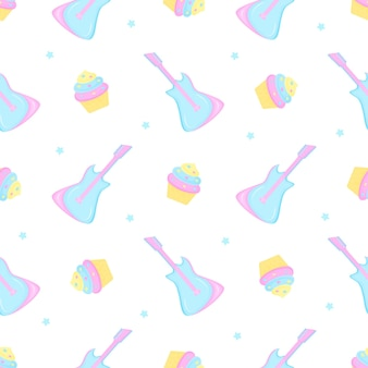 Guitar, cake and stars. seamless pattern for the decoration of the nursery for a girl or boy, for the design of kids clothing, things.
